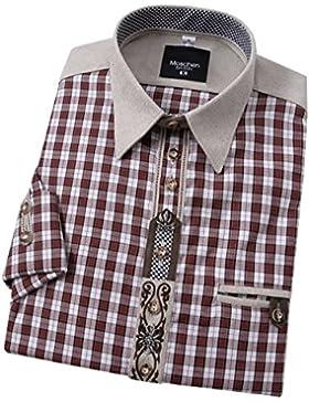 Top-Quality Trachtenhemd Herren - Rot-Karo/kariert - Langarm/Kurzarm - Komfort Reine Baumwolle -mit Edelweiß