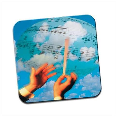 Orchestra Conductor Conducts the World's Music Single Premium Glossy Wooden Coaster by Fancy A Snuggle