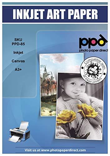 PPD Inkjet bedruckbares 350 g/m2 Canvas Fotopapier Weiß Matt Zur Reproduktion Von Kunstdrucken - Tolle Optik Durch 100% Baumwoll-Basis Und Spezialbeschichtung, DIN A3+ x 10 Blatt PPD085-10