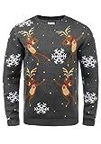 SHINE Original Pingo Herren Weihnachtspullover Winter Pullover Strickpullover Weihnachtspulli mit Rundhals-Ausschnitt, Größe:XL, Farbe:Dark Grey Melange