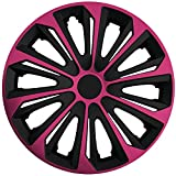 (Größe und Farbe wählbar!) 15 Zoll Radkappen / Radzierblenden STRONG BICOLOR PINK (Farbe Schwarz-Pink), passend für fast alle Fahrzeugtypen (universell) – nur beim Radkappen König