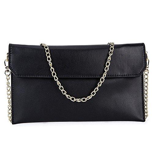 Schwarz Leder Tasche Kleidungsstück (Damen Abendtasche aus Echtleder Handtasche Clutch Umhängetasche Kleine Kette Schultertasche Grldbörse - Schwarz)