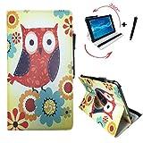 Aldi - MEDION LIFETAB X10302 MD 60347 - Drehbare Tablet PC Schutztasche mit Standfunktion + Touch Pen - 10.1 Zoll Eulen mit Blumen 360°