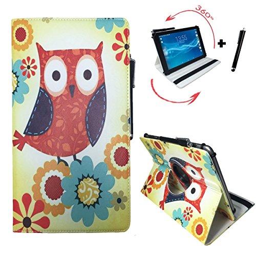 Street Hip Scanner (Tablet Tasche für Hip Street Phantom 2 Schutz Hülle Etui Case + Touch Pen - 10.1 Zoll Eulen mit Blumen 360°)