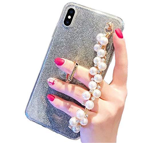 Obesky Glitzer Hülle für Huawei P8 Lite 2017, Luxus 3D Bling Diamant Handschlaufe Halterung Design Weich TPU Silikon Bumper mit 360 Grad Ring Ständer Schutzhülle für Huawei P8 Lite 2017, Schwarz Design-diamant Bling
