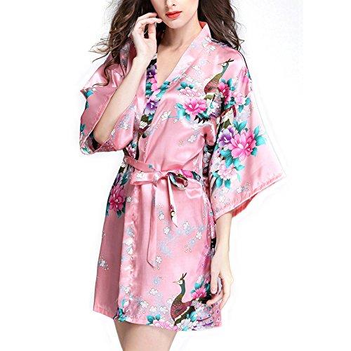 Femme Paon Fleur Luxe Soyeux Satin Soie Kimono Peignoir Pyjama Chemise Cardigan Robe Nightgown Nuisette Chemise Dames VÊTement de Nuit/de Bain/de Chambre, 10+ Couleur Facultative - Short Style pink