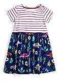 BesserBay Maedchen Sommer Stripe Kleider A-Linie Dress mit Blumen 3013 7T
