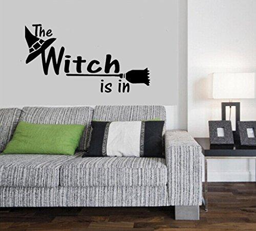 Aoligei Halloween-Hexe-Hut-englisches Wohnzimmer-Schlafzimmer-Glasfenster-Dekoration-Wand-Aufkleber