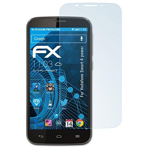atFolix Schutzfolie kompatibel mit Vodafone Smart 4 Power Folie, ultraklare FX Bildschirmschutzfolie (3X)