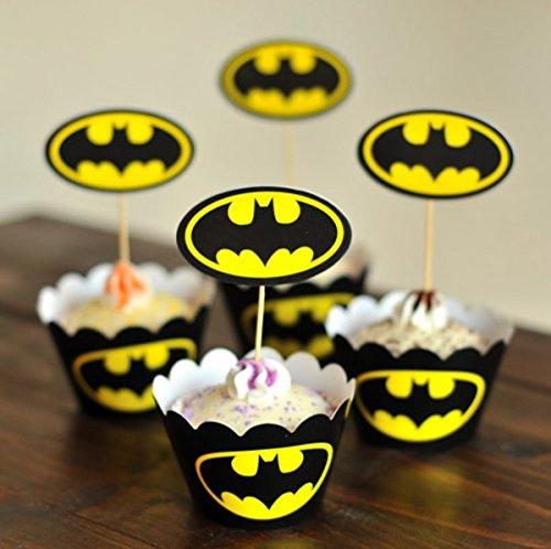 ers Thema Cupcake-Förmchen mit Picks für Kuchen & Party Dekoration Favor Supplies 9cm Batman ()