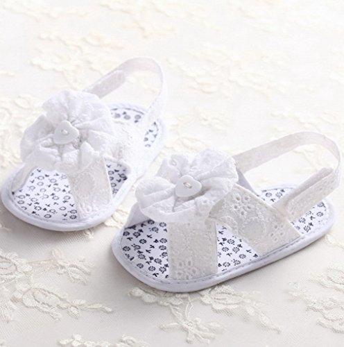 ACMEDE Babyschuhe Blume weiche Sandale Schuhe für Baby Mädchen Weiß 11cm Weiß 2