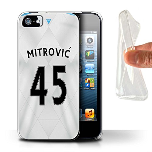 Offiziell Newcastle United FC Hülle / Gel TPU Case für Apple iPhone SE / Pack 29pcs Muster / NUFC Trikot Away 15/16 Kollektion Mitrovic