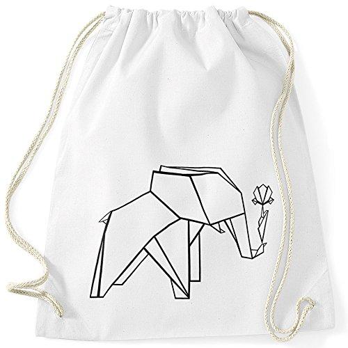 MoonWorks Turnbeutel Origami Elefant mit Rose Gymbag Weiß Unisize -