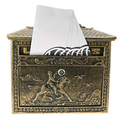 PrimeMatik – Briefkasten Postkasten Retro Antik Vintage Gusseisen Schwarze Oxid für wallmount Pferd - 8