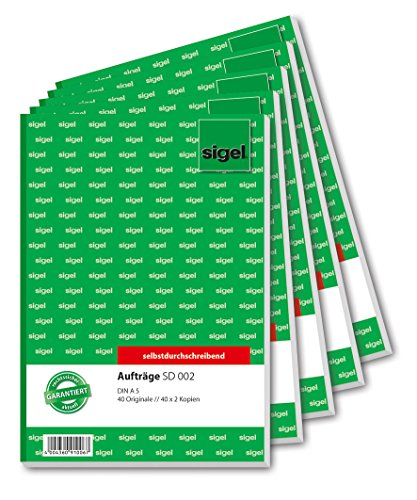 Sigel SD002/5 Auftragsbuch A5, 3 x 40 Blatt, selbstdurchschreibend, 5er Pack