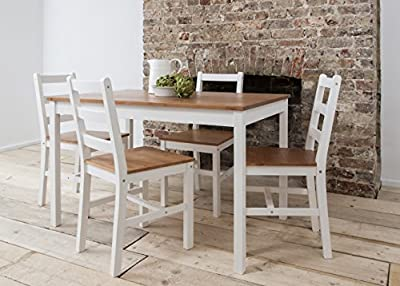 Dining Table & 4 Chairs Annika in White and Natural Pine