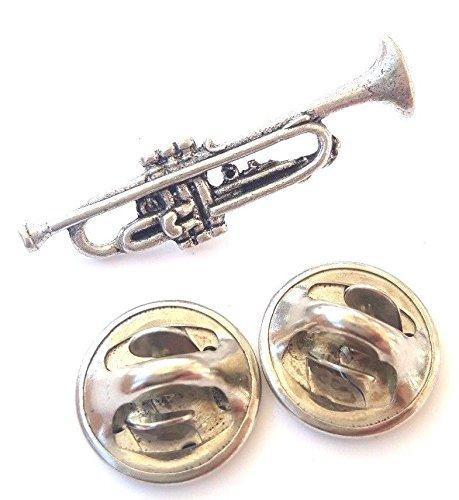 Trompete handgefertigt in massivem Zinn in Großbritannien Anstecknadel + 59mm Button + Geschenk Tüte