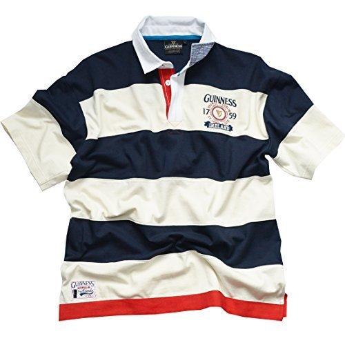 Marineblau/weiß Guinness Gestreift 1759 Kurzärmlig Rugby Hemd (S-XXL) - Baumwolle, Marine, 100% baumwolle, Navy, Herren, Large (Guinness Rugby)