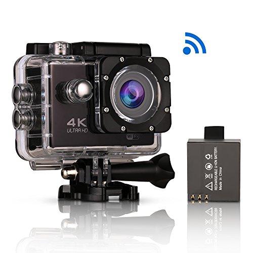 Action-Kamera 4K WiFi, 2-Zoll-LCD-Bildschirm Ultra HD wasserdichte Tauchkamera Sport DV-Camcorder mit 4K / 30fps Video, 16MP Foto und 170 Weitwinkelobjektiv, 2 Akkus, 17 Zubehör-Kits
