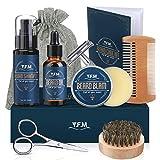 Y.F.M Kit de Cuidado de Barba para Hombres 8 en 1, Cuidado Barba - Champú, Aceite, Bálsamo de Barba, Peine, Afeitadora, Tijeras, Cepillo y Bolsa - Regalo Ideal para Todas Ocasiones y Aniversarios