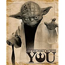 """Póster Star Wars """"Yoda - May the Force be with You/ Que la fuerza te acompañe"""" (40cm x 50cm) + embalaje para regalo"""
