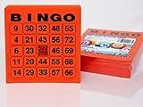 200 große Bingokarten für Senioren 24 aus 75 mit Joker in der Mitte (rot)