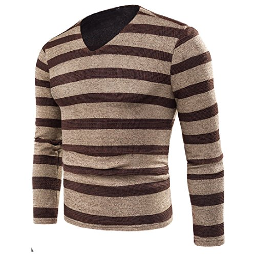 CuteRose Men's Stripes Printed Comfy Velvet Knitwear Pullover Sweater Khaki M - Argyle Shorts