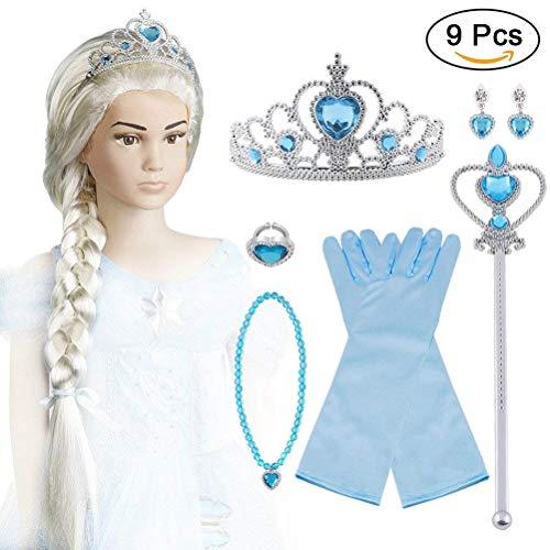 Vicloon ELSA Eisprinzessin Set of 9 ,ELSA Handschuhe,Upgrade Prinzessin Tiara Braid,Zauberstab Mädchen and Prinzessin Krone Ohrringe Ringe (Elsa Kinder Für Perücke)