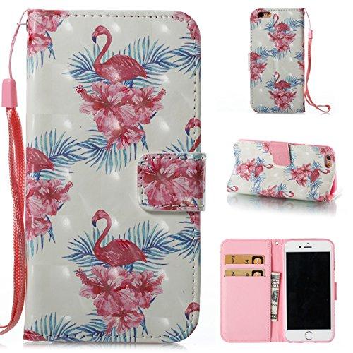 Coque pour iPhone 6S (4.7 Pouces),Portefeuille Housse Etui pour iPhone 6 (4.7 Pouces),Leeook 3D Effet Mignonne Drôle Rosa Flamingo Fleur Modèle Bookstyle Wallet Case Cover de Protection à Rabat Magnét Rosa Flamingo Fleur