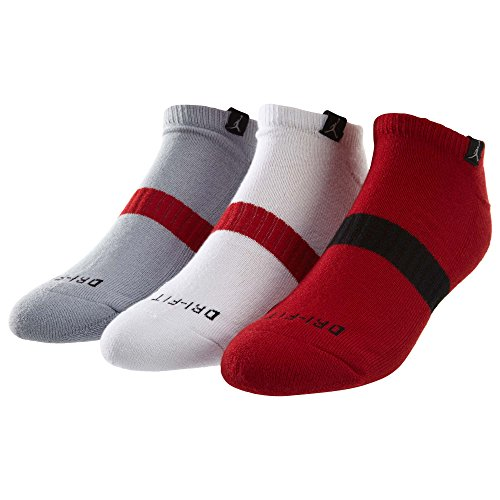 Jordan Dri Fit Chaussettes No Show 3-pack Gym Red/Wolf Grey/White/Black