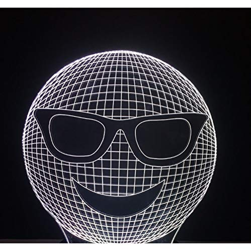 Lustige 3D Cool Laugh Sunglass Ausdruck Nachtlichter Led Bunte Gradient Stimmung Tisch Schreibtischlampe Kinder Geschenke Schlafzimmer Lampara Decor