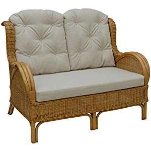 korb.outlet Klassisches 2-Sitzer Rattan-Sofa, Korbsofa inkl. Sitz- & Rückenpolster Beige/Lounge-Sofa/Wintergarten Couch aus echtem Rattan (Honig)