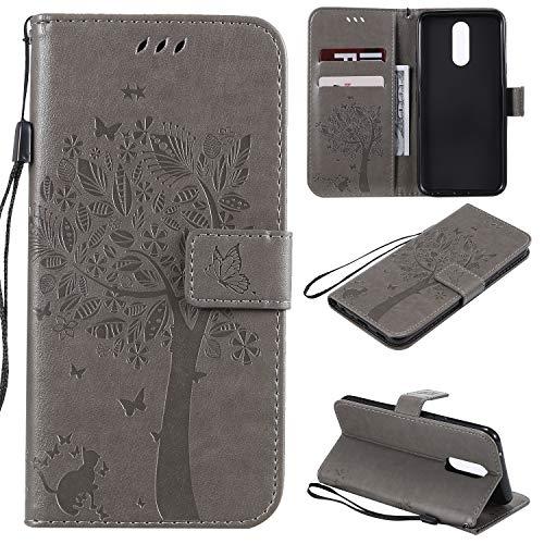 CMID LG K40 Hülle, PU Leder Brieftasche Handytasche Flip Bookcase Schutzhülle Cover [Ständer][Handschlaufe] für LG K40 (C-Grau)
