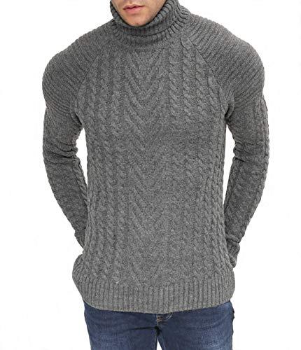 White Flamingo 6602049 Herren Winter Pullover Rollkragen Hoodie Strickpullover Slim Fit Sweatshirt (Large, Dunkelgrau) -