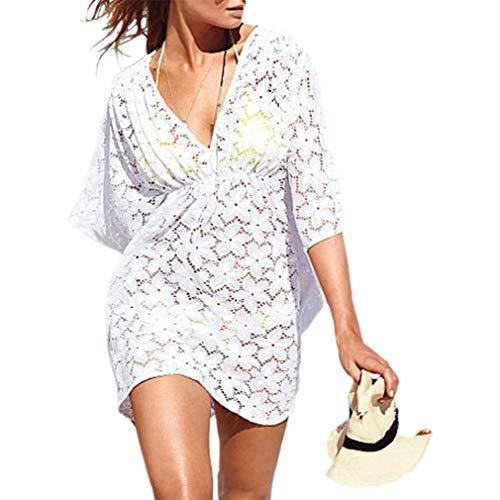MG Collection Copricostume Pizzo da Spiaggia Collo a V Alla Moda Bianco Floreale Fashion Floral White Lace V-Neck Beach Swimsuit Cover Up