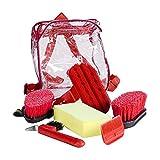 Putzset Putzzeug für Pferde 6tlg in schönem Rucksack, Auswahl:rot