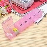 Generic Tragbarer Medizin Pillendose 7Tage Tablet Wallet Storage Organizer Container Fall Box Spender Halter mit 7Fächer Dosierung Tracking Keeper (Pink)