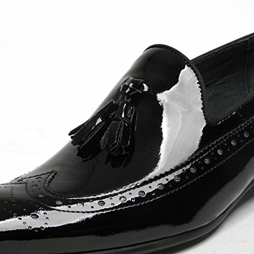GRRONG Chaussures En Cuir Pour Hommes Véritable Cuir Pointu Business Formal Dress Black Black