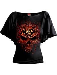 Spiral Women - Skull Blast - Boat Neck Bat Sleeve Top Black