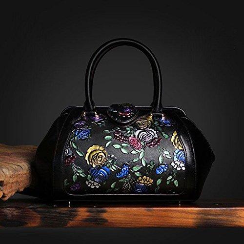 Leathario Borsa di Vera Pelle da Donna Mano Spalla Classico Vintage Estate Elegante Dipinta Lussuosa nero-2