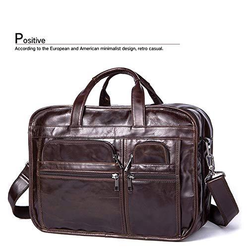 Herren Leder Aktentasche für Business Bag Echtes Leder Große Aktentasche für 15,6 Zoll Laptop für Männer Frauen,Brown-OneSize - Zwickel-aktentasche Aus Leder