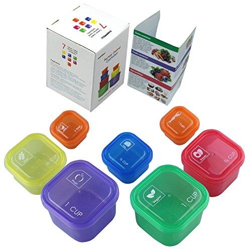GAINWELL 7 PEZZI CONTENITORI DOSATORI DI PORZIONI - per diete- Codifica per colori, senza misurare