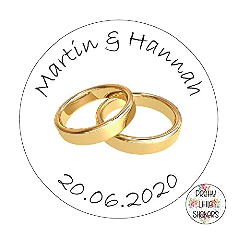 50 x 3cm PERSONALISED Wedding/Anniversary Stickers Favours/Save The Date/Invites Gold Rings