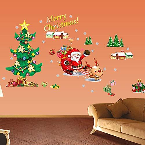 Weihnachten Wandaufkleber,Christmas Tree Santa Muster Abnehmbare Kunst Wasserdicht Wand Sticker Fenster Glas Neues Jahr Partei Abziehbilder Für Home Wohnzimmer Dekorationen -