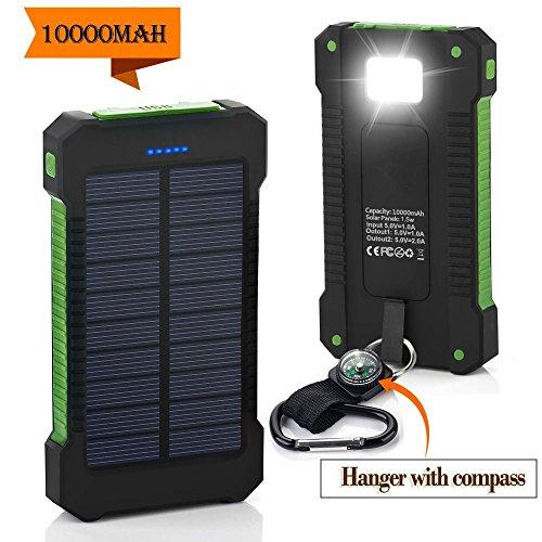 VSOAIR Caricatore Solare 10000mAh con USB Doppio Pannello Solare Portable Battery Power caricatore Della Banca con la Torcia Elettrica del LED e la Bussola Impermeabile e Antipolvere e Resistente agli Urti