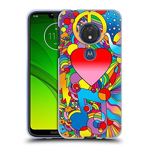 Head Case Designs Offizielle Howie Green Frieden, Liebe Und Musik Herzen Soft Gel Huelle kompatibel mit Motorola Moto G7 Play