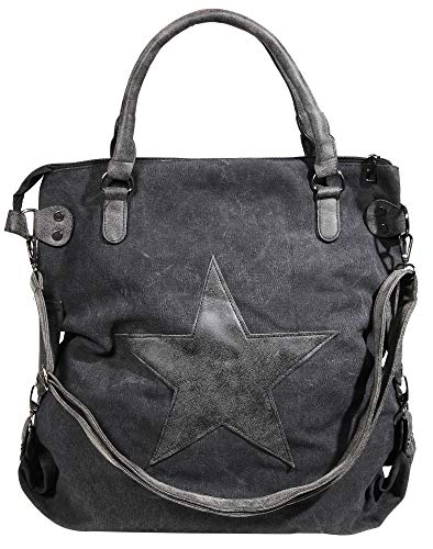 Damen XL Canvas Shopper Handtasche Schultertasche mit Stern Motiv, Farbe:Schwarz