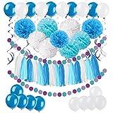 61 Stück Partei Dekorationen, Cocodeko Pompoms Blumen, Spiral Girlanden, Quasten Girlande, Polka Dot Papier Girlande und Luftballon für Geburtstag Parteien Hauptdekorationen - Blau, Hellblau und Weiß