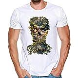 MRULIC Herren Männer Druck Tees Shirt Kurzarm T Shirt Tops(F-Weiß,EU-50/CN-2XL)
