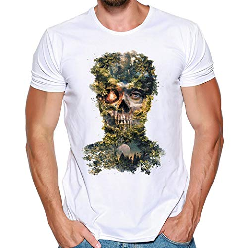 (MRULIC Herren Männer Druck Tees Shirt Kurzarm T Shirt Tops(F-Weiß,EU-50/CN-2XL))